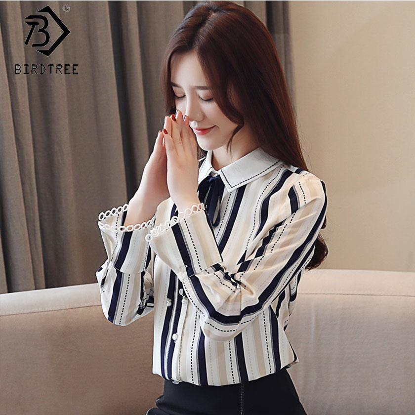 Knowledgeable 2019 New Womens Striped Chiffon Blouses Peter Pan Collar Bow Flare Sleeve Single Breasted Top Office Lady Hots Sales T8d015j To Suit The PeopleS Convenience Women's Clothing