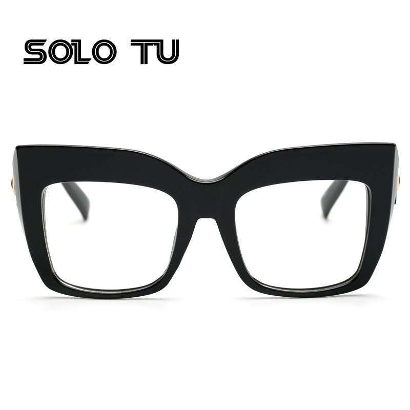 NEW 2017 brand large black square frame glasses designer fashion cat ...