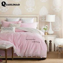 2017 Luxury 60s Long-Staple Cotton Bedding Sets Embroidered Lace Edge Duvet Cover Set Queen/King Size Bedclothes Bed Linen 4 Pcs