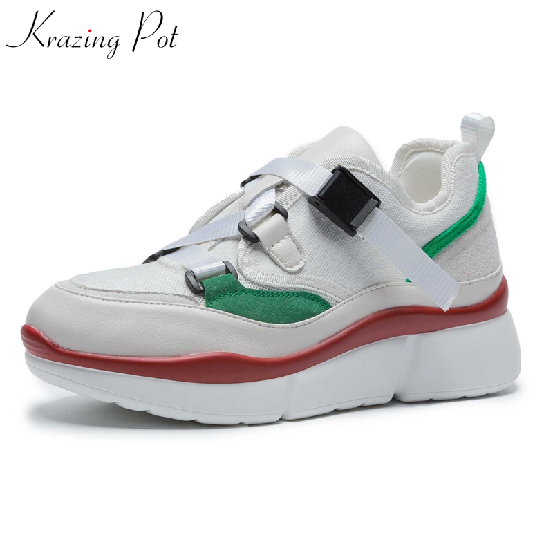 Krazing Pot new Autumn cow suede air mesh sneakers for women platform buckle straps round toe causal wedges vulcanized shoes L50 цена 2017