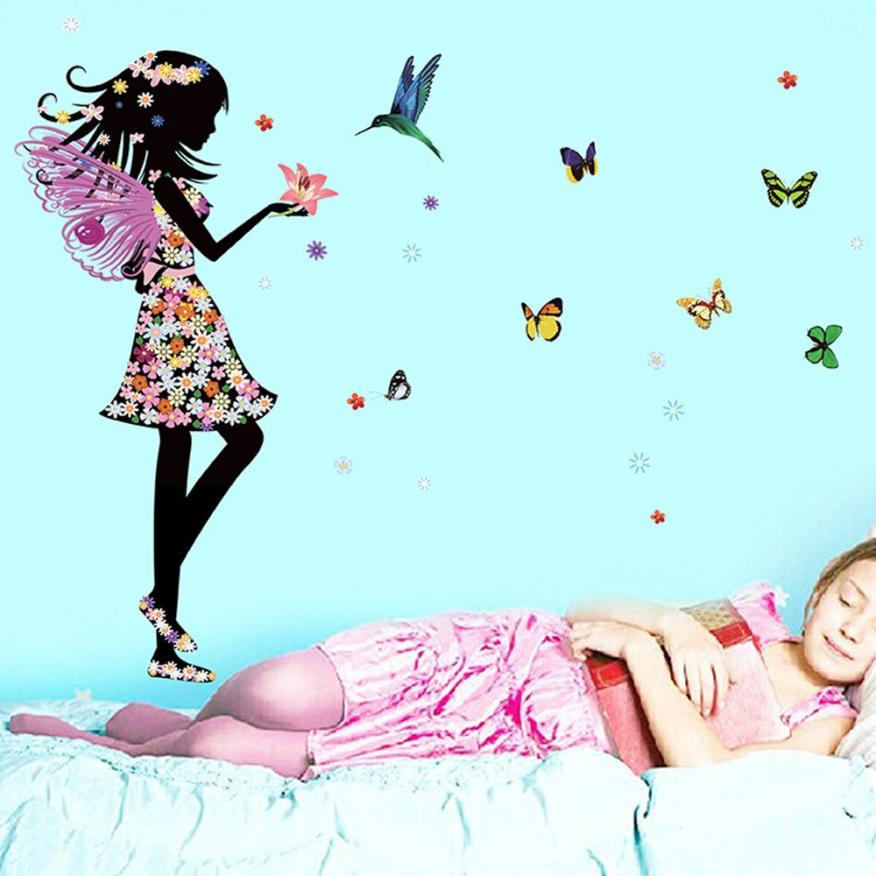 Super Deal 2016 Angel Wings Beautiful Girl Flowers Butterfly Diy Wall Stickers Removable Home Decor Mural