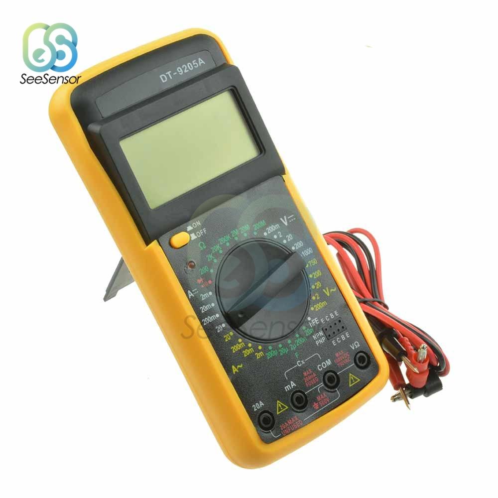DT-9205A Professional Digital Multimeter LCD AC/DC Handheld Ammeter Voltmeter Resistance Capacitance Tester