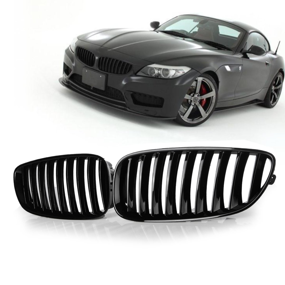 Pair Gloss Black Front Mesh Grilles (Left & Right) for BMW Z4 E89 2008-2016