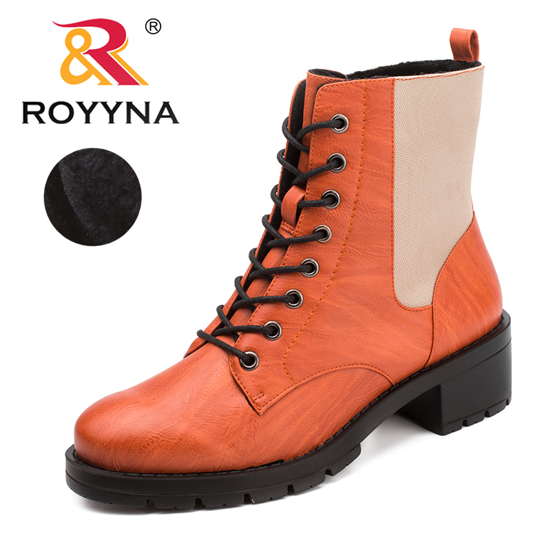 ROYYNA New Classics Style Women Boots Round Toe Winter Shoes Lace Up Ankle Comfortable Light Free Shipping