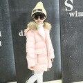 Crianças meninas Inverno Coreano Engrossado Mão Plugue de Algodão Gola De Pele Com Capuz Longo Casaco Crianças Roupas Cor de Rosa Vermelho Cinza