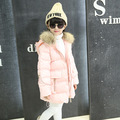 Girls Children Winter Korean Hand Thickened Plug of Cotton Fur Collar Hooded Long Coat Kids Clothing Pink Red Grey