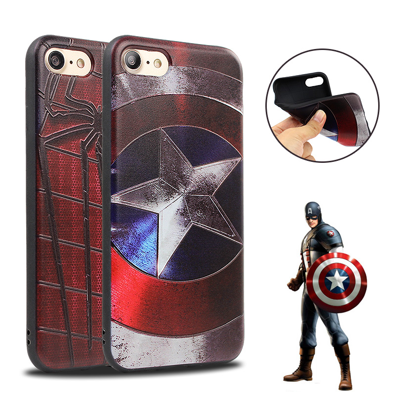 Newest 3D Design <font><b>Super</b></font> <font><b>Hero</b></font> Iron Man <font><b>Spiderman</b></font> Captain America Leather <font><b>Case</b></font> <font><b>for</b></font> <font><b>iphone</b></font> 7 <font><b>Plus</b></font> <font><b>6</b></font> 6s <font><b>6</b></font> <font><b>Plus</b></font> <font><b>Case</b></font> Back Cover Fundas
