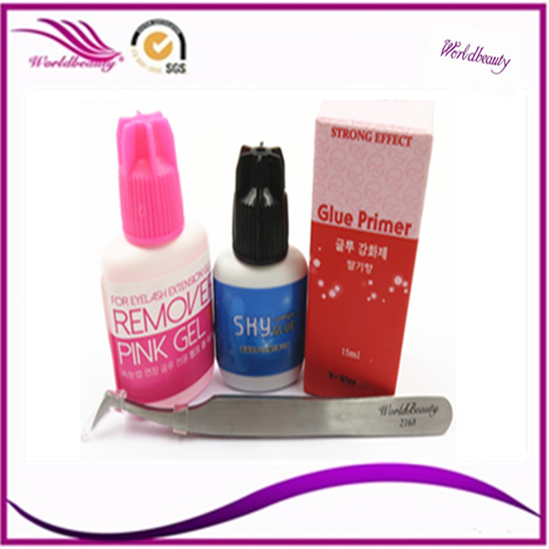 ФОТО Hot Selling Makeup Tool Kits Sky Glue for eyelash extension Fast drying black glue Stainless steel tweezers and Pink Gel Remover
