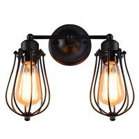 Retro Industrial Edison Simplicity Antique Wall Lamp with Metal Grapefruit shade Black