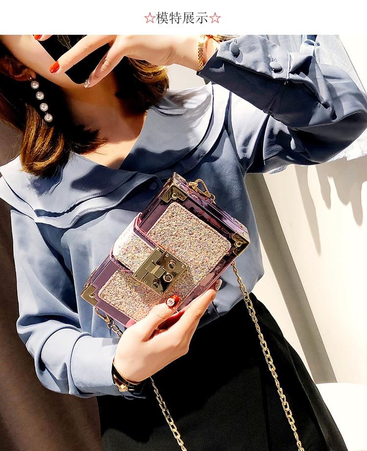 Luxury Fashion Gradient Color Sequins Box Style Female Party Clutch ... b063c27ac7e1
