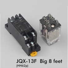 цена на JQX-13F Intermediate relay HH62P small intermediate electromagnetic relay 220V/110v/380v 12V 24V with  big 8feet relay SOCKET