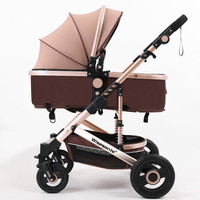 Luxury Baby Stroller 2 in 1 High Landscape Pram Portable Folding baby Carriage Cheaper Baby Stroller Natural Rubber Four Wheel