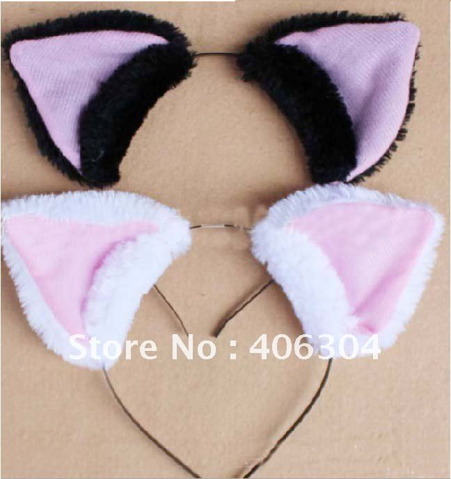 Free shipping,plush COSplay black/white fox ear  hair band,Headband Soushi Miketsukami/mascot headband,