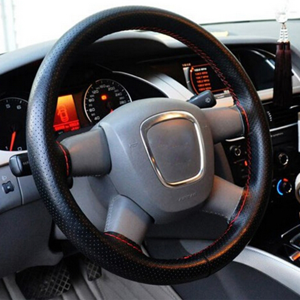 38cm Diameter Car Steering Wheel Covers for Car Styling Decoration Automobiles Anti-slip PU Leather Protector Auto Accessories