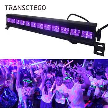 12 LED Disco UV violeta negro luces DJ 36 W Par lámpara UV para fiesta Navidad barra lámpara láser escenario luz de fondo de pared
