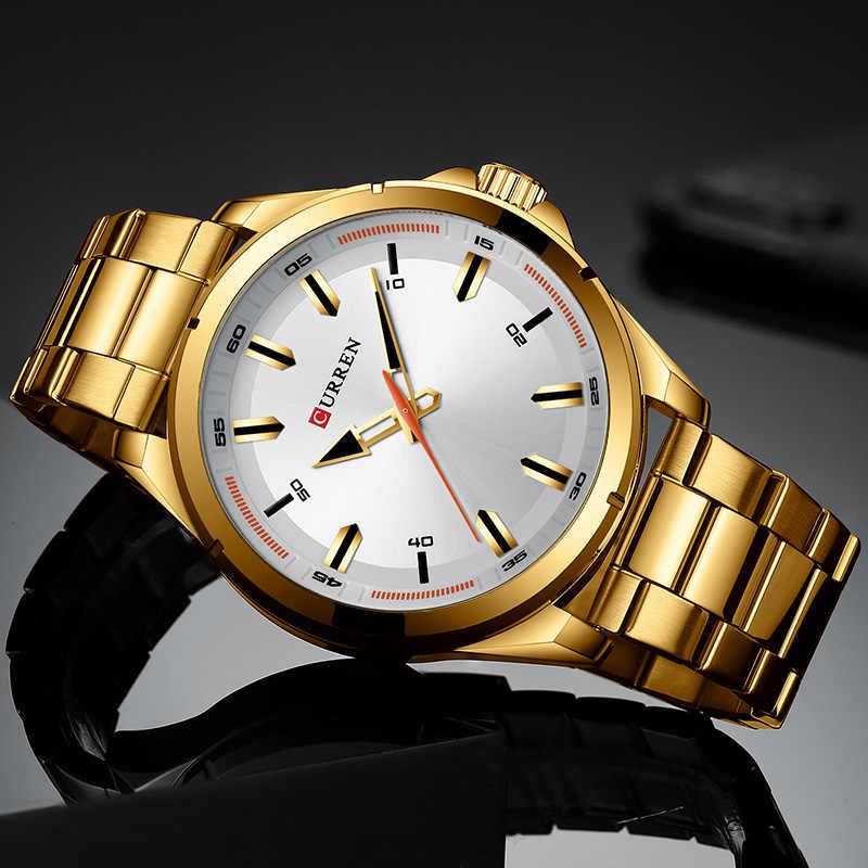 بسيط الأزياء Curren ساعة كوارتز ذهب الرجال عارضة الفولاذ المقاوم للصدأ ساعة اليد شهم الأعمال هدية دروبشيبينغ relojes hombr