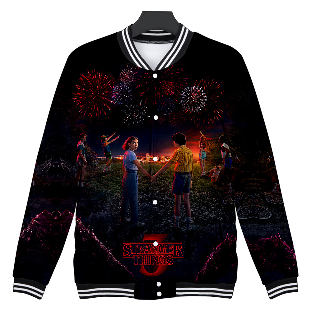 Stranger Things Same Paragraph 3D Casual Slim Baseball Jacket Fashion Long-sleeved Jacket Trend Casual Baseball Uniform