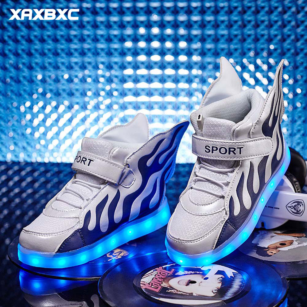 2018 NEW Blue Flame Wing Lighted Children Sneakers Boys Girls USB Rechargeable LED Glowing Shoes Kids Luminous Casual Shoes new boys children luminous shoes sneakers with lighted led casual girls glowing sneakers kids shoes