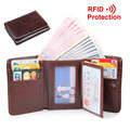 Cowhide! Men's RFID Blocking Trifold Wallet Credit Card Holder With Secure ID Window Genuine Leather Hasp Purse Coin Pocket