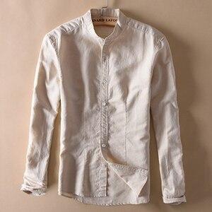 Image 2 - אופנה גברים כותנה פשתן חולצות קלאסי גברים הסיני מנדרינית צווארון ארוך שרוול Slim מוצק לבן לנשימה רך פשתן חולצה XXL