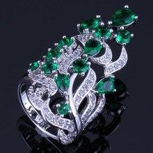 Glittering Huge Plant Green Cubic Zirconia White CZ 925 Sterling Silver Ring For Women V0526