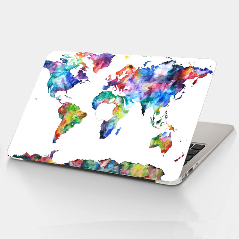 watercolor world maps top vinyl front decal laptop skin for apple macbook air pro retina 11 12 13 15 laptop sticker in laptop skins from computer