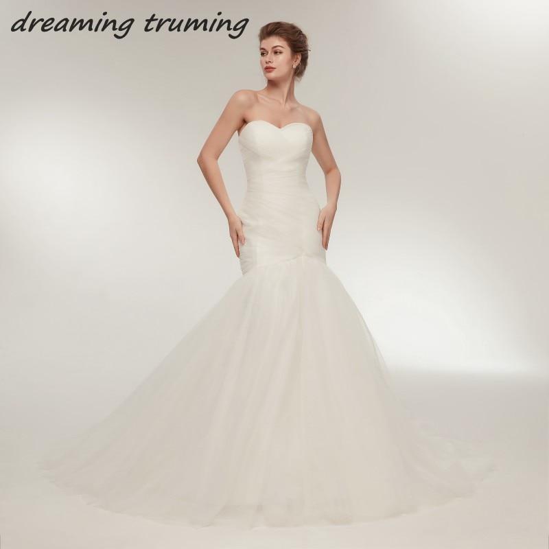Tulle Overskirt Wedding Dresses Mermaid Bateau Neck Simple: Simple But Elegant 2018 Mermaid Wedding Gowns Ruched Pleat