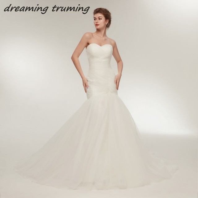 Simple But Elegant 2018 Mermaid Wedding Gowns Ruched Pleat Tulle ...