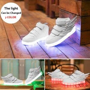Image 3 - Size 25 37 Light Shoes Kids for Girls Boys Led Shoes Luminous Sneakers Light Up Children Tenis Led Slippers USB Recharging