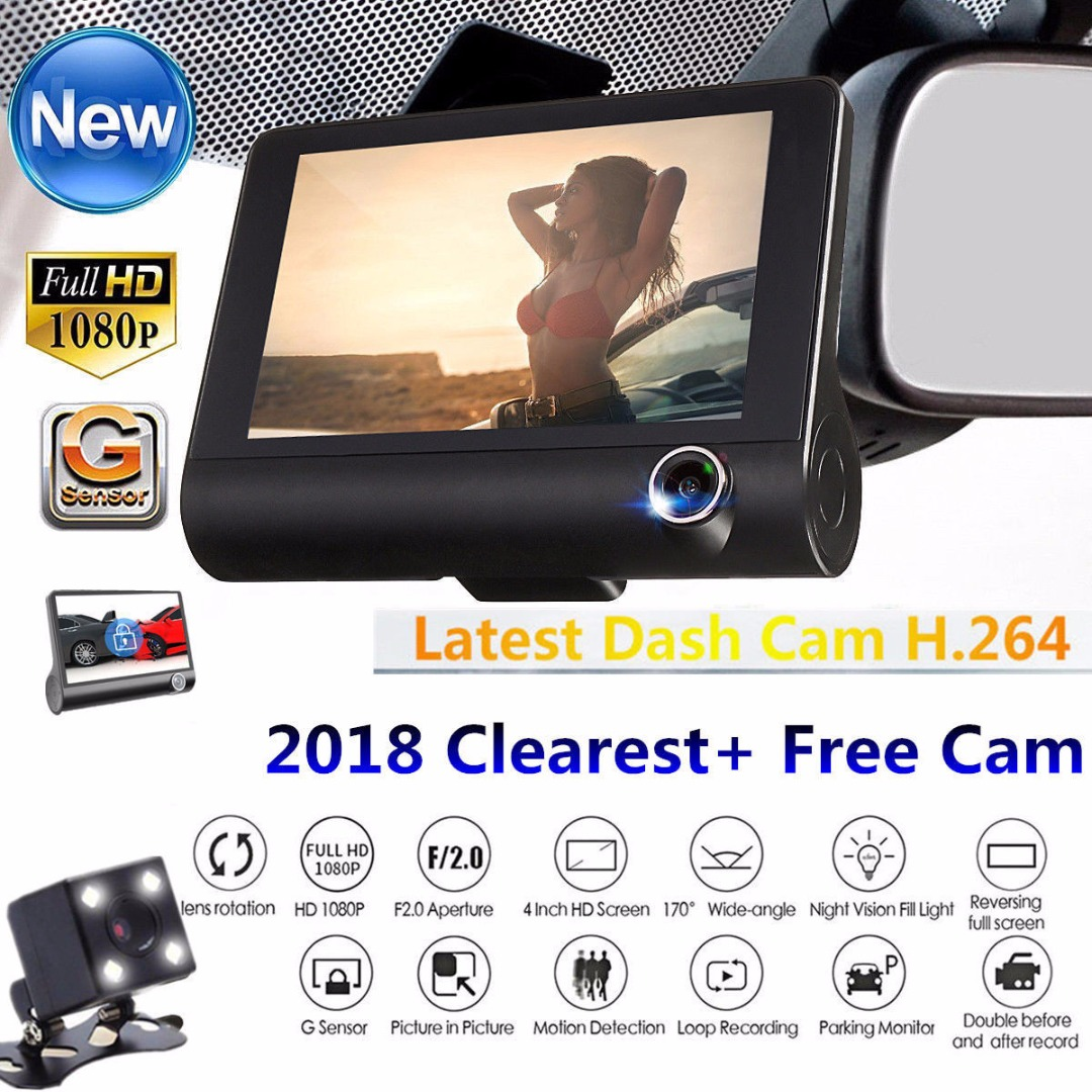 4Inch HD 170 Degree Full 1080P 3 Lens Car DVR Dash Cam Vehicle Video Auto Hidden Styling G sensor Recorder Rearview Camera