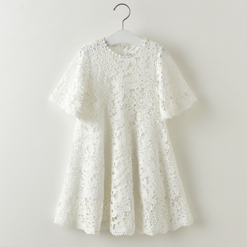 Summer Casual Half Sleeve Girl Lace Dress White Floral Pattern O-Neck - Children's Clothing - Photo 1