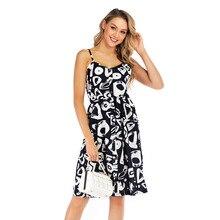 2019 Fashion New Style Print Open Back Dress Sleeveless Summer Leisure Basic