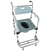 4 in 1 Multifunctional Aluminum Elder People Disabled People Pregnant Women Commode Chair Bath Chair Light Blue