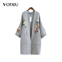 Cardigan Female Autumn Kimono Embroidery Long Sweater Cardigans 2017 Tops Open Pockets Coat Long Sleeve Women
