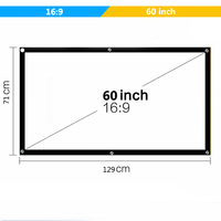 Vivicine Portable Projection Screen 60 inch 100 inch 16:9 Projector Screen for Home theater LED Projector Proyector Beamer