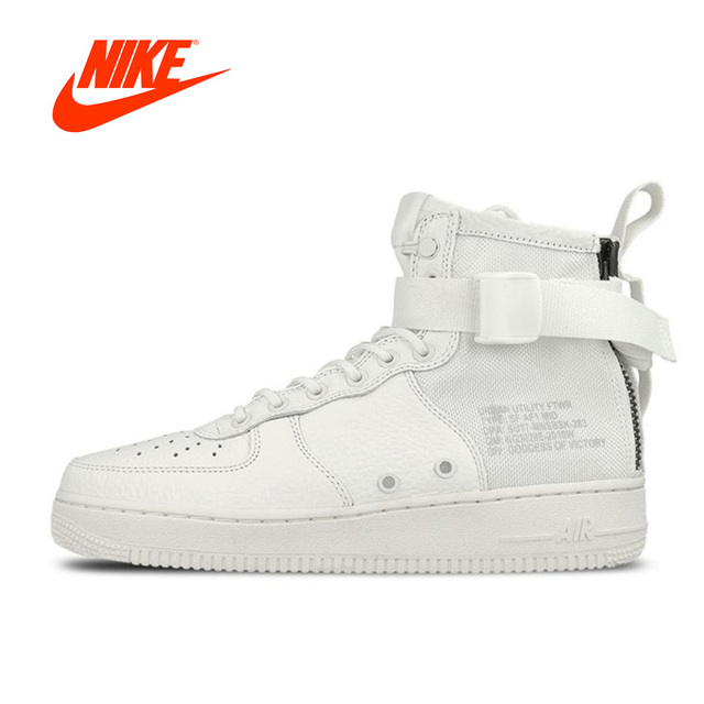 Original New Arrival Official Nike Men SFAF1 Mid Triple Ivory  Skateboarding Shoes Sports Sneakers