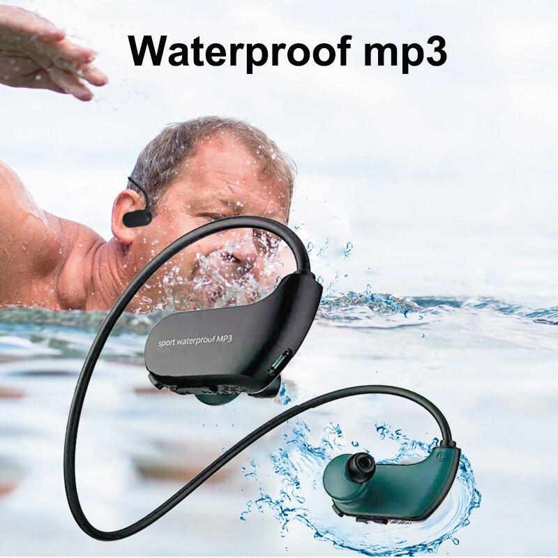 Fashion Outdoor IPX8 Dustproof Waterproof MP3 Player Sport MP3 Headphone HiFi Music 8G Memory Swimming Diving
