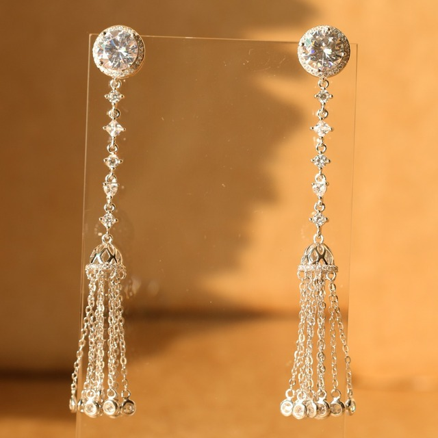 Long Tassel Earrings 925 Sterling Silver for Women Blue White Zircon Drop Dangle Brush Earrings Fashion Party Annivers Jewelry