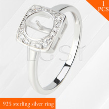 LGSY Square multiple size 925 sterling silver ring accessory jewelry mounting for DIY pearls rings