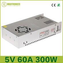5 В 60A 300 Вт Импульсный Источник Питания Драйвера для 5 В WS2812B WS2801 СВЕТОДИОДНЫЕ Полосы Света AC 110-240 В Вход DC 5 В Бесплатная доставка