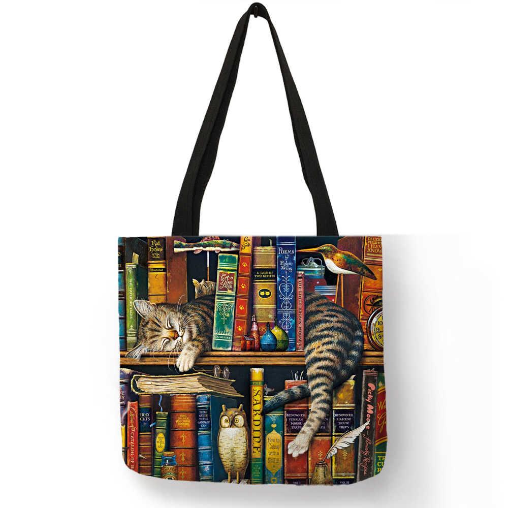 Популярные ручные сумки для женщин 2018, озорная книжная полка, сумки с принтом кота, эко-Льняная Большая вместительная Повседневная практичная сумка на плечо