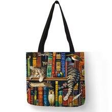 Popular Hand Bags for Women 2018 Naughty Bookshelf Cat Print