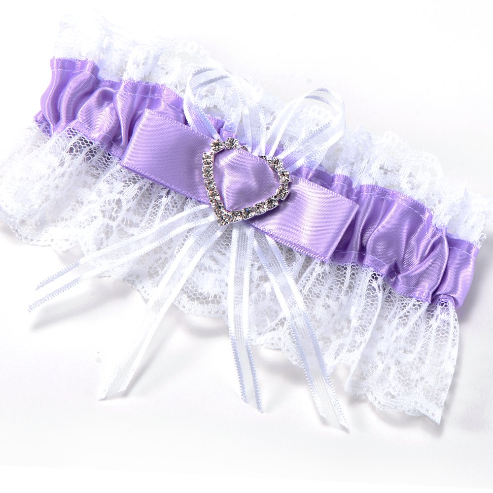 Hot Garter Purple Lace Wedding Accessory Lucky Bride Bow Rhinestone Heart Elastic Tape #68
