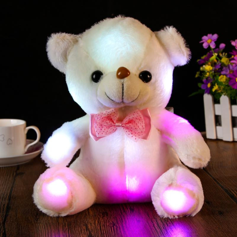25-30cm Large Cute LED Teddy Bear Panda Dark Glowing Stuffed Doll Toy Colorful Flashing Light Bear Hug Plush Toy Children Gift new stuffed light brown squint eyes teddy bear plush 220 cm doll 86 inch toy gift wb8316