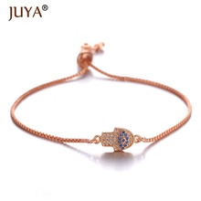 Juya 2019 New Trendy Small Hamsa Fatima Hand Evil Eyes Palm Bracelet for Women Handmade Jewelry Gift armbandjes dames