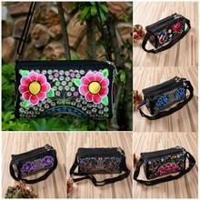 NoEnName Women Bag Wallet Crossbody Ethnic China Retro Embroidered Messenger Shoulder Evening 3 Zipper