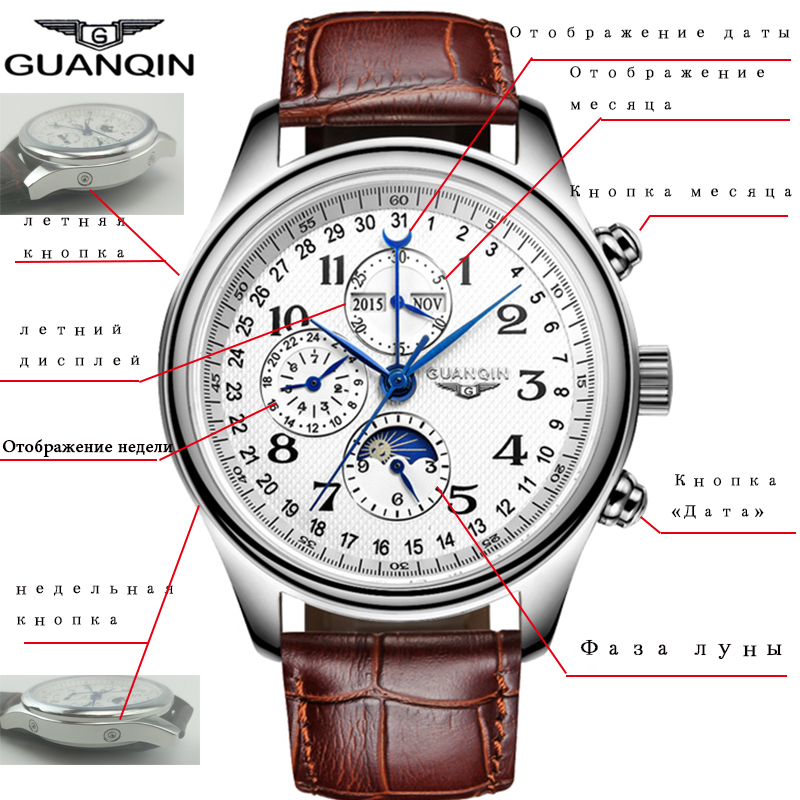 HTB1UGp.asrrK1RjSspaq6AREXXao GUANQIN Automatic Mechanical Men Watches Top Brand Luxury Waterproof date Calendar Moon Leather Wristwatch Relogio Masculino A