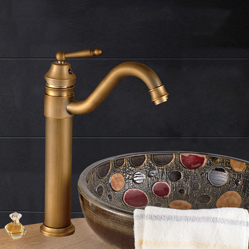 Bronze Single Handle Tap Swivel Lavatory Basin Faucet Deck Mount Antique Brass Tall Spout Vessel Black White Gold Bathroom Mixer new bathroom antique brass tall single blue and white porcelain handle basin faucet g 902