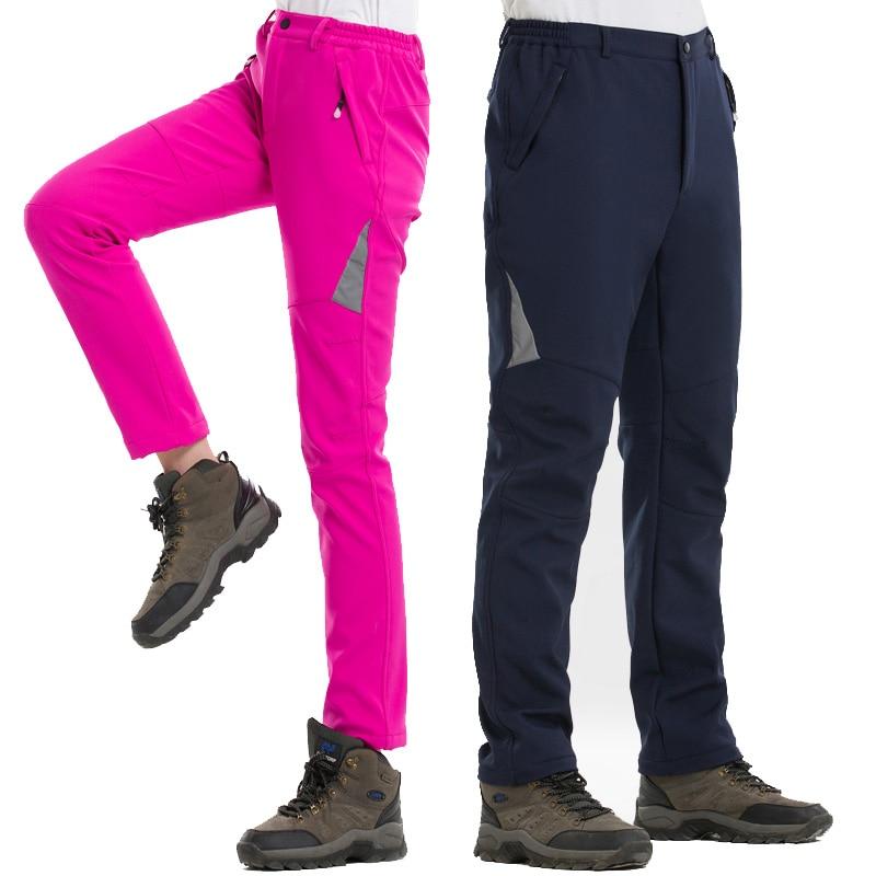 NUONEKO Reflective Waterproof Hiking Pants Women Men Winter Fleece Softshell Outdoor Fishing Camping Skiing Trousers PM15