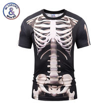 Mr.1991INC Europe America Fashion Men/Women T-shirt 3d Print Skeleton Skulls T-shirt Summer Tops Tees Brand T shirt(China)